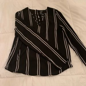 black long sleeve with white stripes